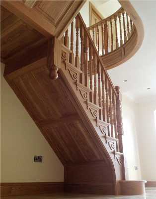 White Oak Timber Stairs With Curved Landing Custom Built